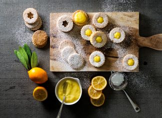 Linzer Cookies with Meyer Lemon Curd