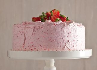 Champagne Cake with Fluffy Strawberry Frosting - Bake from Scratch Cake SIP