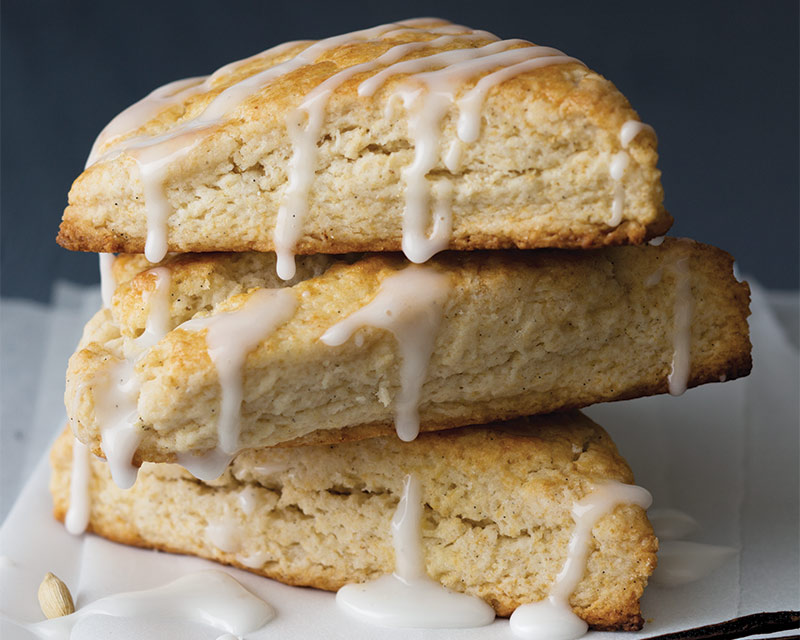 Our Coziest Breakfast Bakes - Vanilla Bean and Cardamom Scones with Vanilla Bean Glaze