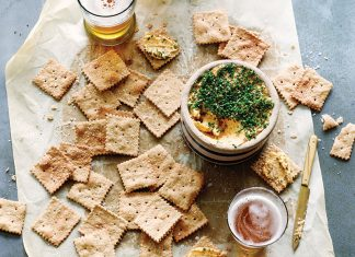Sesame-IPA Saltines with Pub Cheese Spread