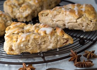 Pear Chai Spiced Scones with Spiced Pear Glaze