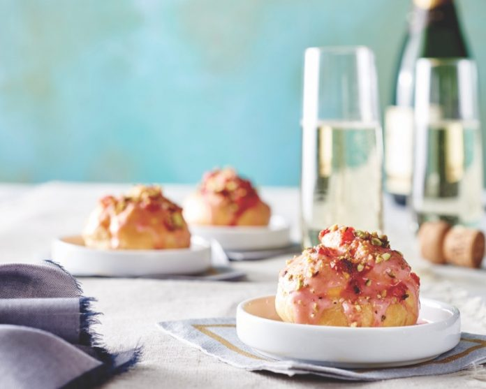 Strawberry, Pistachio, and Rose Profiteroles