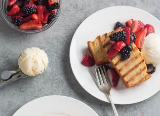 Grilled Browned Butter Pound Cake with Berries
