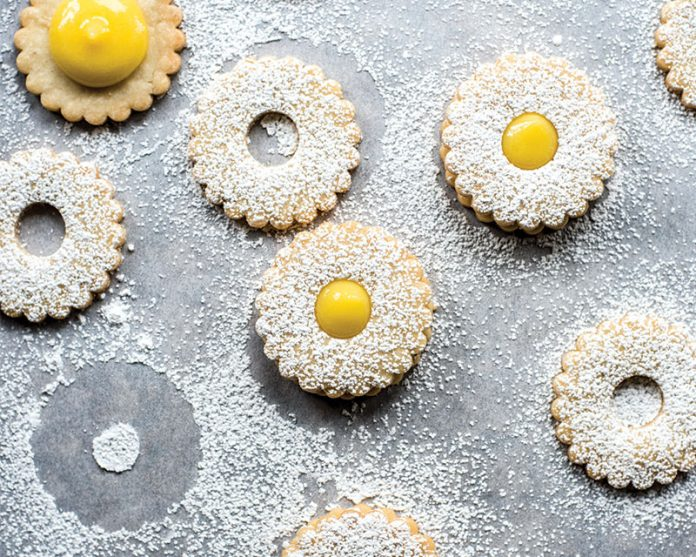 Lavender Sandwich Cookies with Lemon Curd Filling