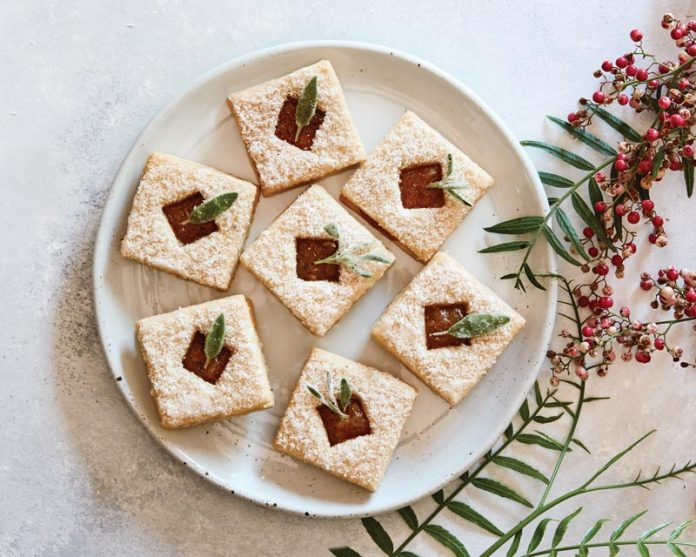 Spiced Pineapple Linzer Cookies