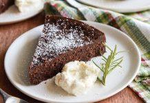 Flourless Chocolate Rosemary Cake with Vanilla-Orange Mascarpone