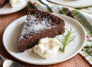 Flourless Chocolate Rosemary Cake with Vanilla-Orange Mascarpone