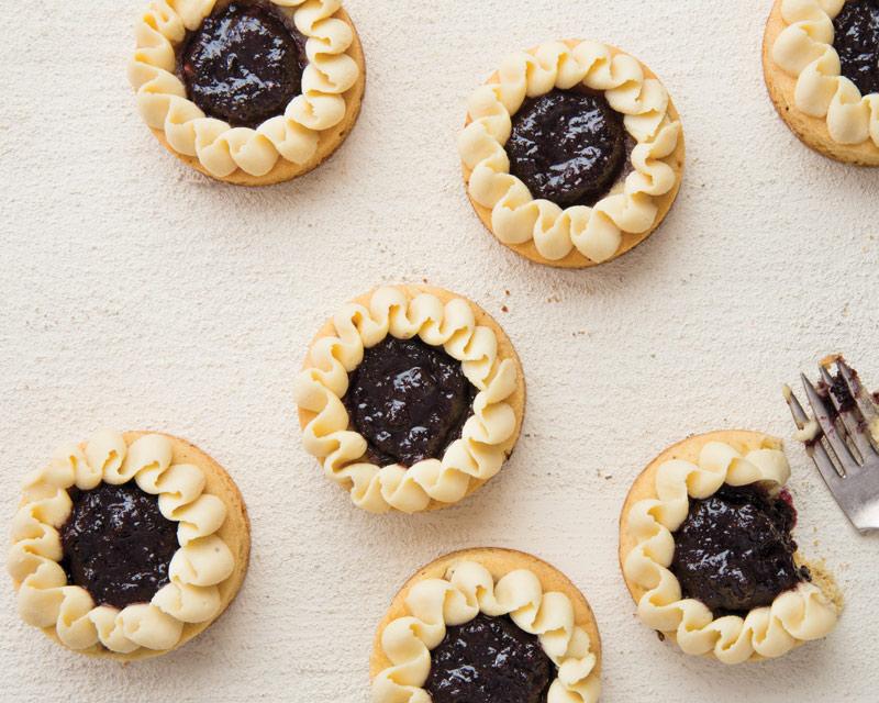 Pear, Juniper, and Blueberry Breton Tarts
