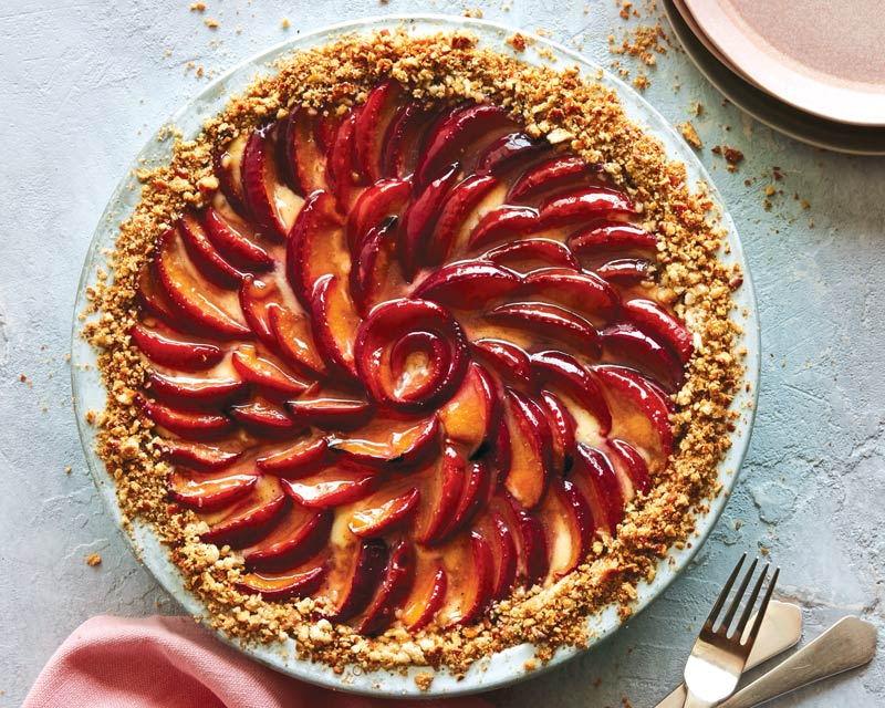 Plum-and-Pretzel Cheesecake Pie