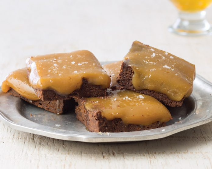 Fig Brownies with Sour Beer Caramel
