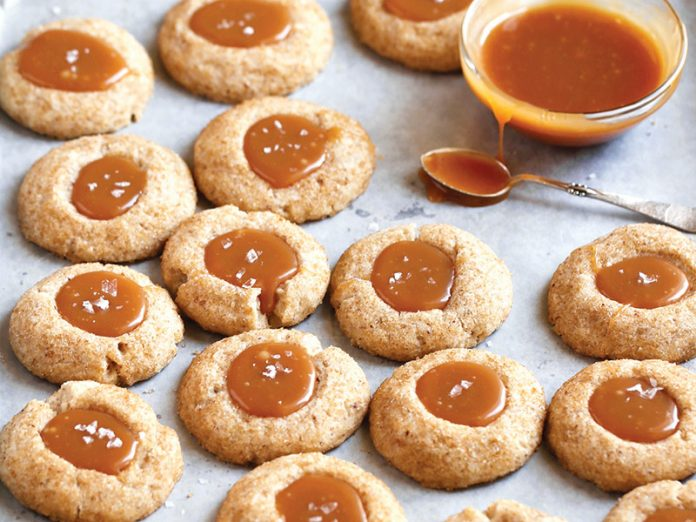 salted caramel thumbprint cookies bake from scratch