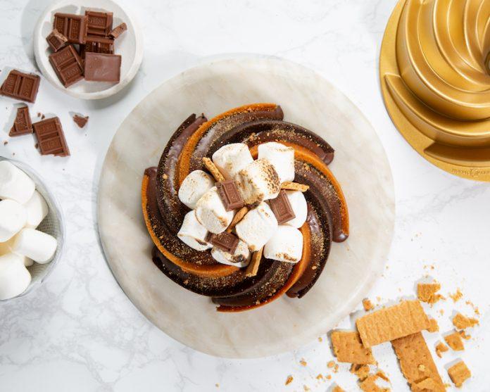 s'mores swirl bundt cake overhead