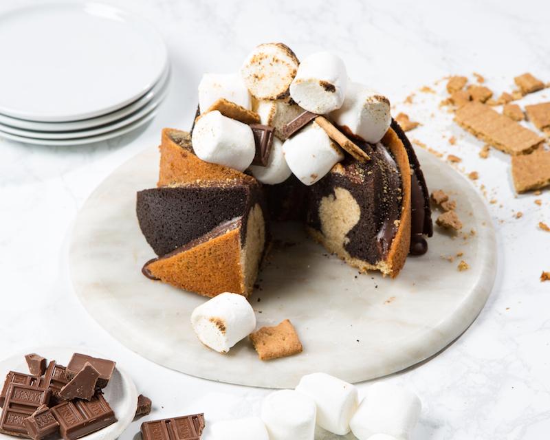 s'mores swirl bundt cake