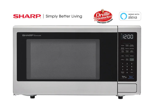 Sharp Stainless Steel Smart Carousel Countertop Microwave Oven