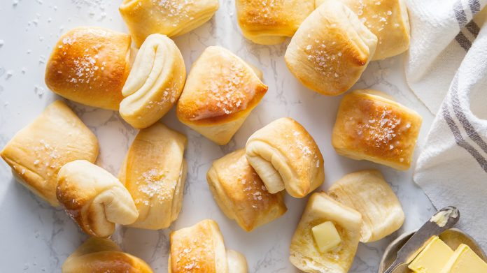 Parker house rolls with butter