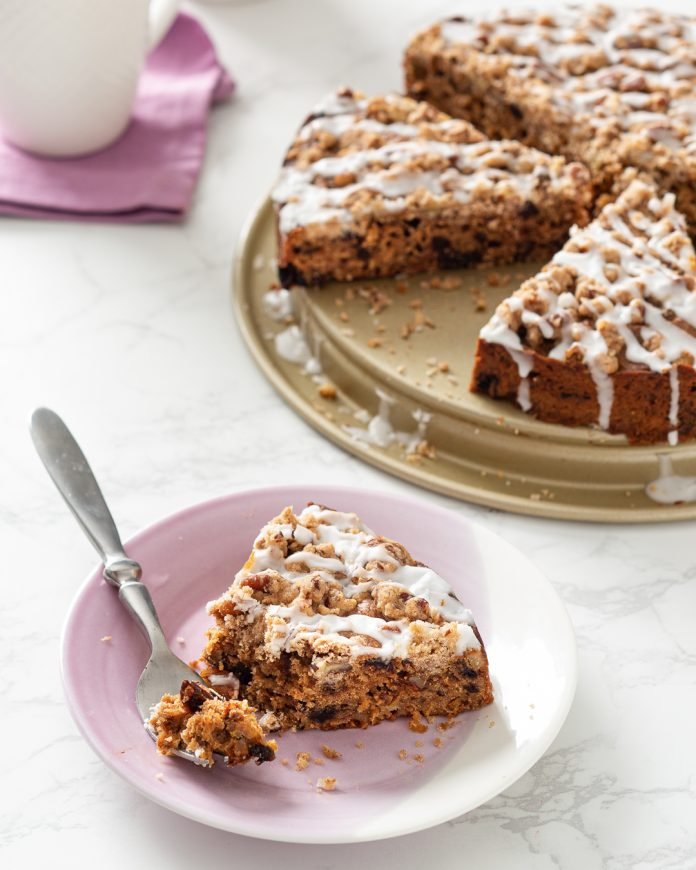 prune hummingbird coffee cake with glaze