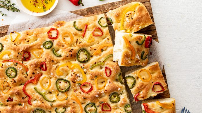 focaccia with peppers