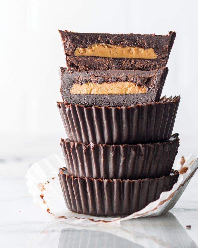 chocolate cups filled with peanut butter