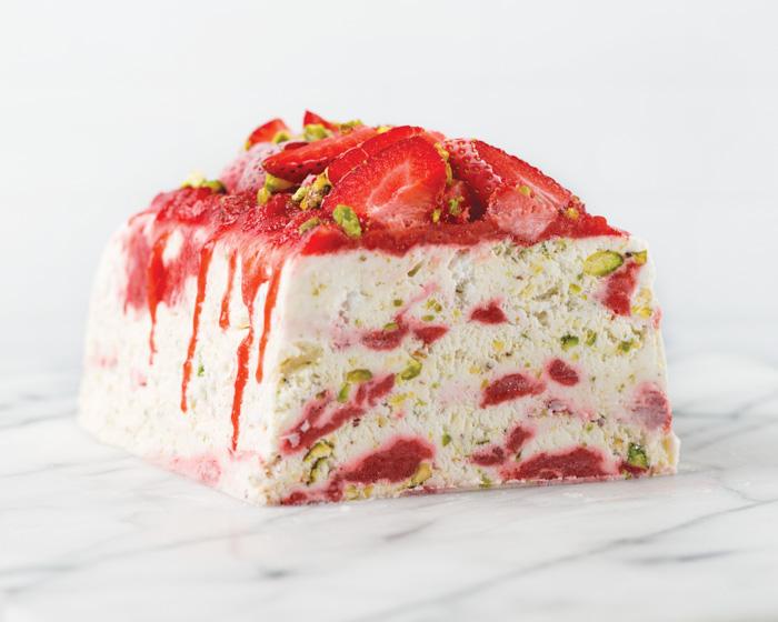 strawberry pistachio semifreddo